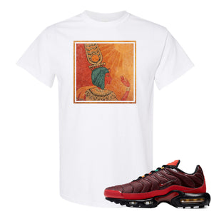 printed on the front of the air max plus sunburst sneaker matching white tee shirt is the vintage egyptian logo