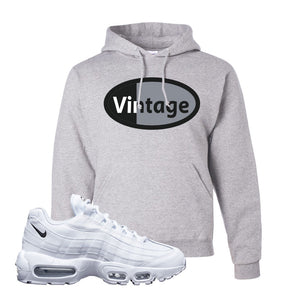Air Max 95 White Black Hoodie | Ash, Vintage Oval
