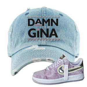 Air Force 1 P[her]spective Distressed Dad Hat | Light Blue, Damn Gina