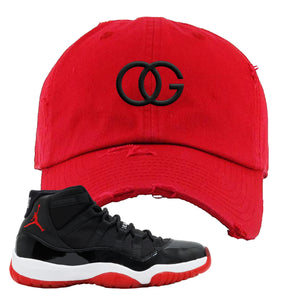 Jordan 11 Bred OG Red Sneaker Hook Up Distressed Dad Hat