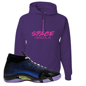 Jordan 14 Doernbecher Space Needle Purple Sneaker Hook Up Pullover Hoodie