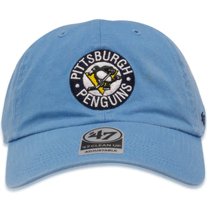 Pittsburgh Penguins Vintage Columbia Blue '47 Brand Clean Up Dad Hat