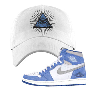 Air Jordan 1 High Hyper Royal Dad Hat | All Seeing Eye, White