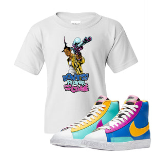 Blazer Mid Big Kids T Shirt | White, Don't Hate The Playa