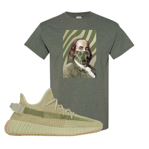 Yeezy 350 v2 Sulfur T Shirt | Heather Military Green, Franklin Mask