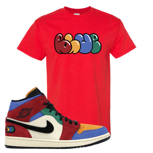 Jordan 1 Mid Fearless Blue The Great Blue Red Sneaker Hook Up T-Shirt
