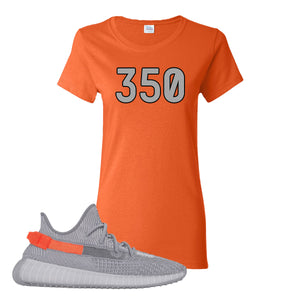 Yeezy Boost 350 V2 Tail Light Sneaker Orange Women's T Shirt | Women's Tees to match Adidas Yeezy Boost 350 V2 Tail Light Shoes | 350