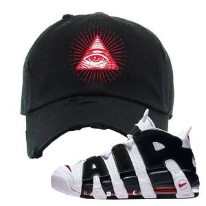 Air More Uptempo White Black Red Distressed Dad Hat | Black, All Seeing Eye