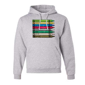 Philly Crayons Pull Over Hoodie | Colors of Philly Crayons Ash Pullover Hoodie the front of this hoodie has the crayons of philly design