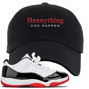 Jordan 11 Low White Black Red Sneaker Black Dad Hat | Hat to match Nike Air Jordan 11 Low White Black Red Shoes | HennyThing Is Possible