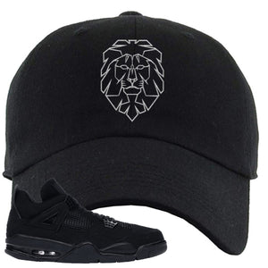 Air Jordan 4 Black Cat Cyber Lion Black Made to Match Dad Hat