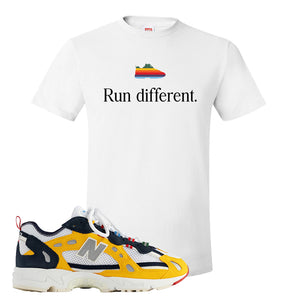 827 Abzorb Multicolor Yellow Aime Leon Dore Sneaker White T Shirt | Tees to match 827 Abzorb Multicolor Yellow Aime Leon Dore Shoes | Run Different