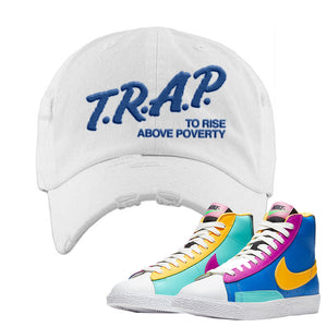 Blazer Mid Big Kids Distressed Dad Hat | White, Trap To Rise Above Poverty