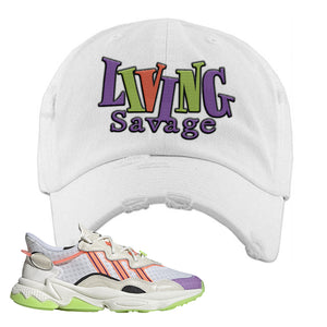 Ozweego Chaos Distressed Dad Hat | White, Living Savage