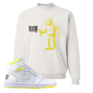 Air Jordan 1 First Class Flight Barcode Robot White Sneaker Matching Crewneck Sweatshirt