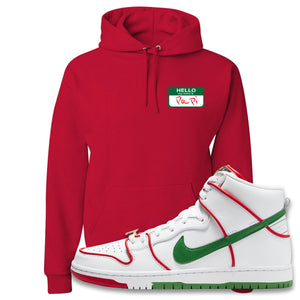 Paul Rodriguez's Nike SB Dunk High Sneaker Red Pullover Hoodie | Hoodie to match Paul Rodriguez's Nike SB Dunk High Shoes | Hello My Name Is Papi