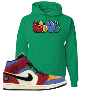 Jordan 1 Mid Fearless Blue The Great Blue Kelly Green Sneaker Hook Up Pullover Hoodie