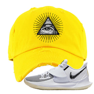 Kyrie Low 3 Distressed Dad Hat | Yellow, All Seeing Eye