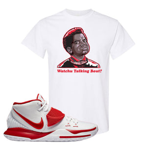 Kyrie 6 White University Red T Shirt | Watchu Talking Bout, White