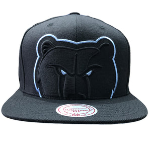 on the front of the Memphis Grizzlies snapback hat, the Grizzlies logo is embroidered in light blue and black
