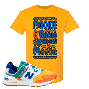 997S Multicolor Sneaker Gold T Shirt | Tees to match New Balance 997S Multicolor Shoes | Mookie And Gang