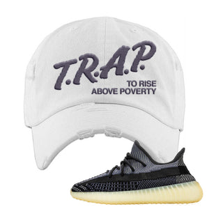 Yeezy Boost 350 V2 Asriel Carbon Distressed Dad Hat | Trap To Rise Above Poverty, White