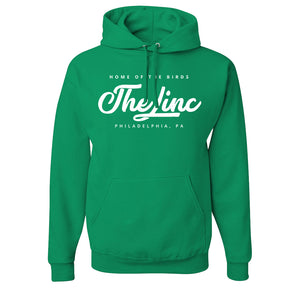 The Linc Home of the Birds Pullover Hoodie | The Linc Home of the Birds Kelly Green Pullover Hoodie the front of this shirt says the linc home of the birds