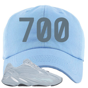 Yeezy Boost 700 V2 Hospital Blue 700 Sneaker Matching Sky Blue Dad Hat