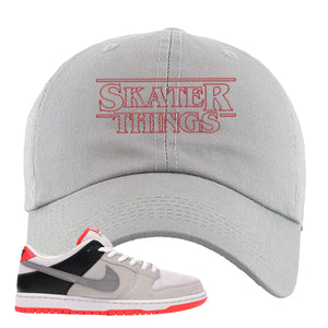 Nike SB Dunk Low Infrared Orange Label Skater Things Light Gray Dad Hat To Match Sneakers