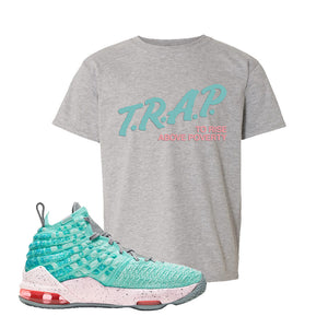 Lebron 17 South Beach Kids T-Shirt | Trap to Rise Above Poverty, Sport Grey