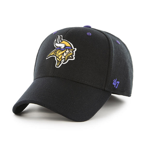 Embroidered on the front of the Minnesota Vikings black stretch fit cap is the Minnesota Vikings logo in yellow, tan, white, and purple with the '47 brand logo embroidered in purple on the left side