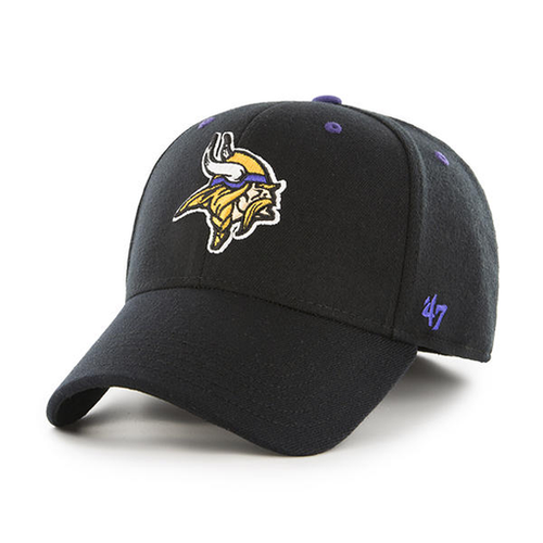 7cf0d8146187b Embroidered on the front of the Minnesota Vikings black stretch fit cap is  the Minnesota Vikings