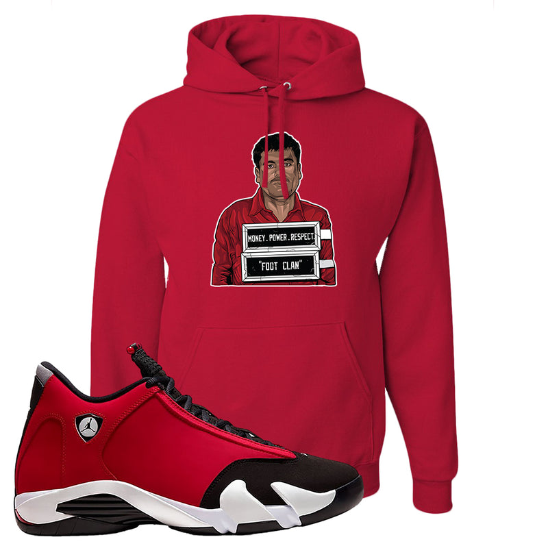 Air Jordan 14 Gym Red Hoodie | Red, El Chapo Illustration