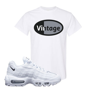 Air Max 95 White Black T Shirt | White, Vintage Oval