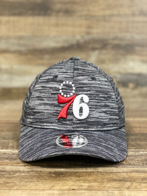 front of 76ers Kids Dad hat | Philadelphia Sixers  Fly knit Look Space Dye Trucker Dad Hat youth