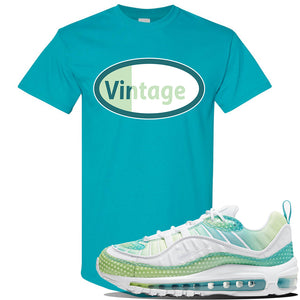 WMNS Air Max 98 Bubble Pack Sneaker Tropical Blue T Shirt | Tees to match Nike WMNS Air Max 98 Bubble Pack Shoes | Vintage Oval