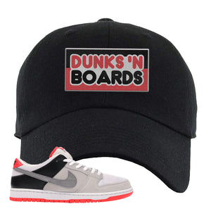Nike SB Dunk Low Infrared Orange Label Dunks N Boards Black Dad Hat To Match Sneakers