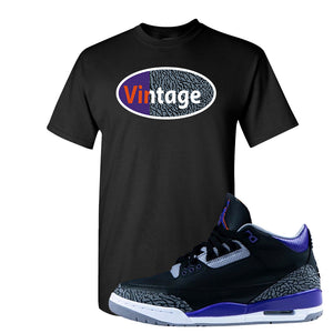 Air Jordan 3 Court Purple T Shirt | Vintage Oval, Black