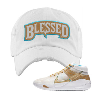 KD 13 EYBL Distressed Dad Hat | Blessed Arch, White