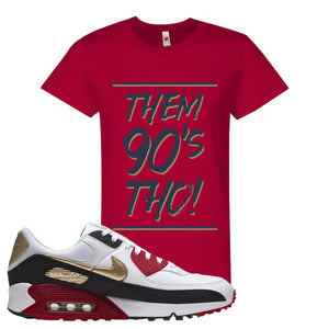 Air Max 90 Chinese New Year Women's T Shirt | Deep Red, Them 90's Tho
