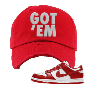 SB Dunk Low St. Johns Distressed Dad Hat | Got Em, Red