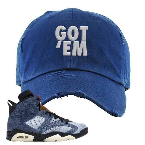 Air Jordan 6 Washed Denim Got Em Navy Blue Sneaker Hook Up Distressed Dad Hat