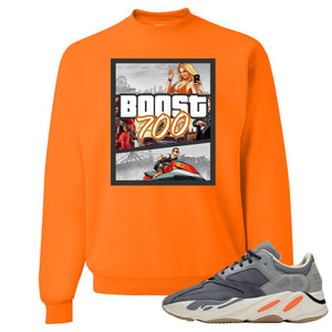 Yeezy Boost 700 Magnet GTA Cover Safety Orange Sneaker Matching Crewneck Sweatshirt