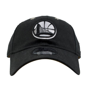 Embroidered on the front of the Golden State Warriors all star black dad hat is the Warriors logo in white and black