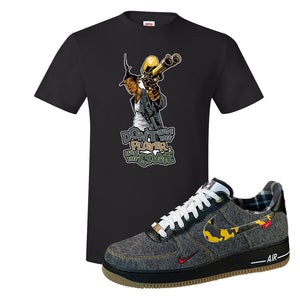 Air Force 1 Low Plaid And Camo Remix Pack T-Shirt | Dont Hate The Playa, Black