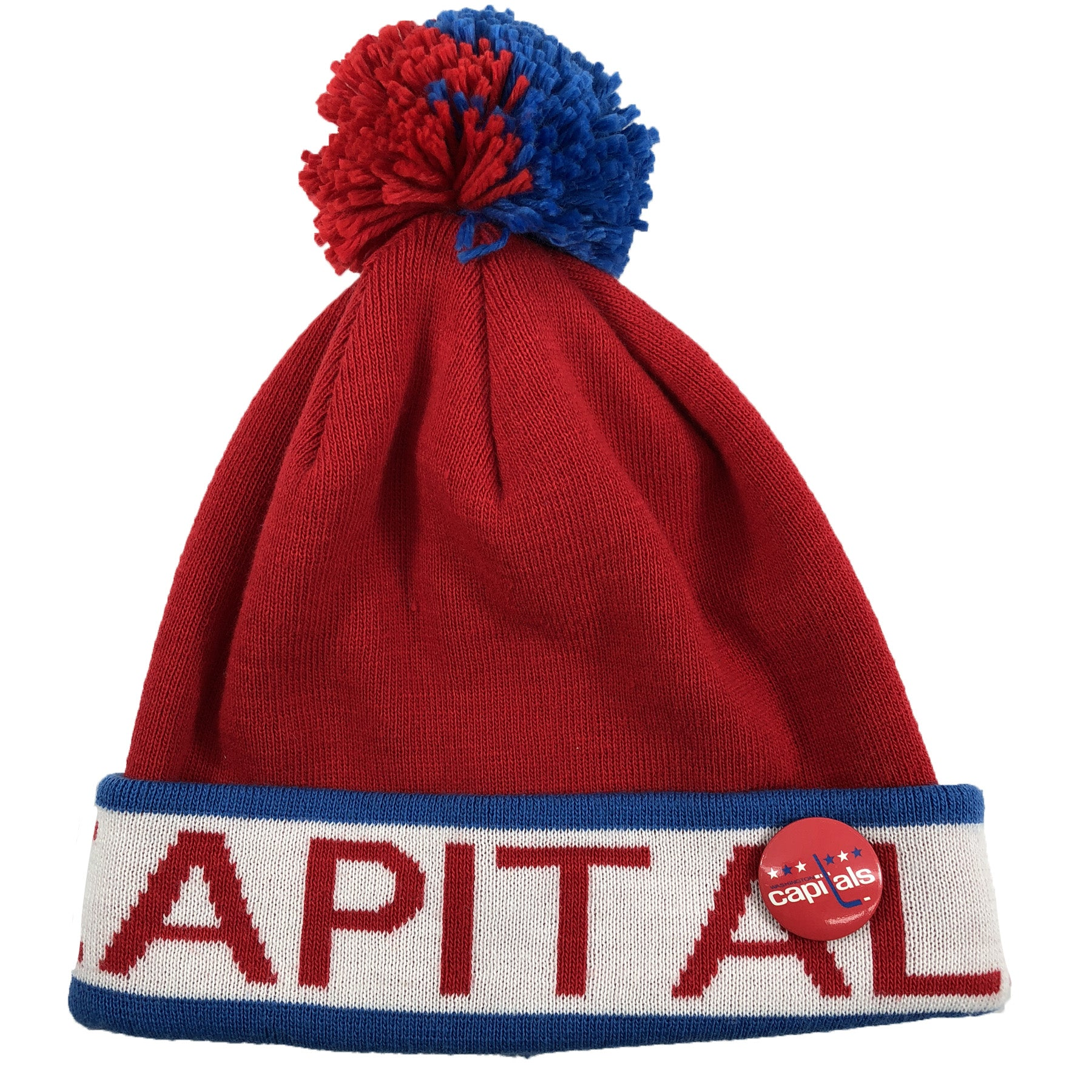 42f34cc0e4a on the front of the washington capitals mitchell and ness winter knit beanie  is the word