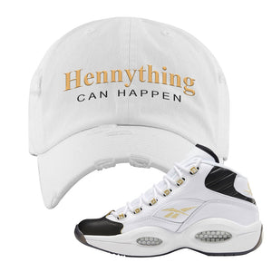 Reebok Question Mid Black Toe Distressed Dad Hat | White, Hennything Can Happen