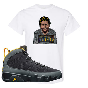 Air Jordan 9 Charcoal University Gold T Shirt | Escobar Illustration, White