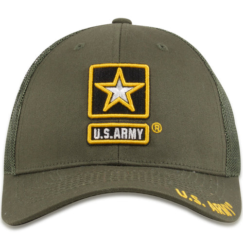 US Army Mesh-Back Military Green Snapback Trucker Hat