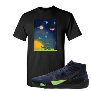 KD 13 Planet of Hoops T Shirt | Vintage Space Poster, Black